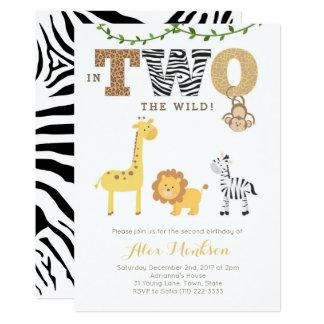 Tarjeta El 2do cumpleaños de la selva invita, cebra de la