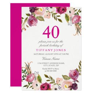 Tarjeta El 40.o cumpleaños floral botánico rosado vibrante