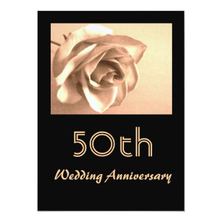 Tarjeta El 50.o aniversario de boda subió sepia elegante