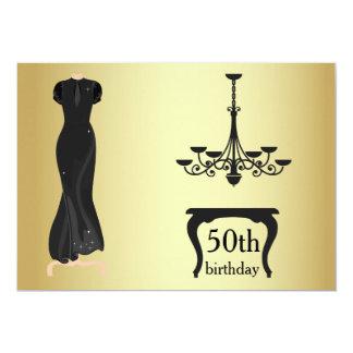 Tarjeta El 50.o oro elegante y el negro del cumpleaños