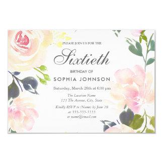 Tarjeta El 60.o cumpleaños floral elegante botánico invita
