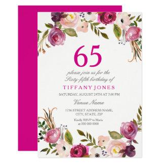 Tarjeta El 65.o cumpleaños floral botánico rosado vibrante