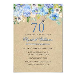 Tarjeta El 70.o cumpleaños de la acuarela floral azul