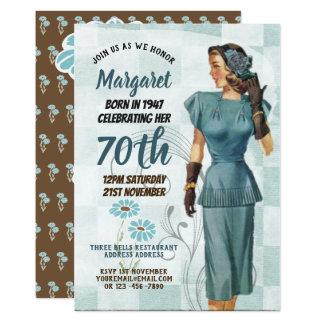 Tarjeta El 70.o cumpleaños elegante invita a la mujer