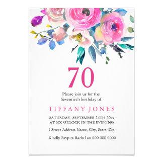 Tarjeta El 70.o cumpleaños floral tropical colorido rosado