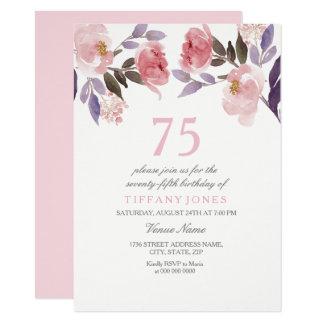 Tarjeta El 75.o cumpleaños de la acuarela floral rosada