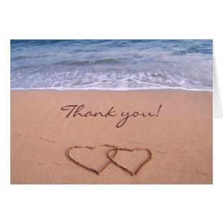 Tarjeta El amor en la playa le agradece cardar