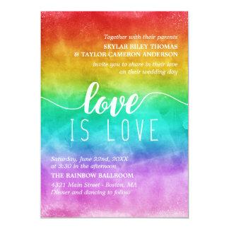 Tarjeta El amor es boda gay de la acuarela del arco iris