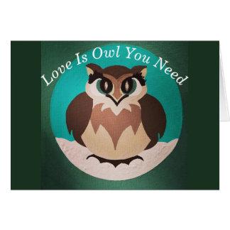Tarjeta El amor es búho que usted necesita