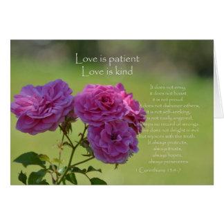 Tarjeta El amor es rosas pacientes