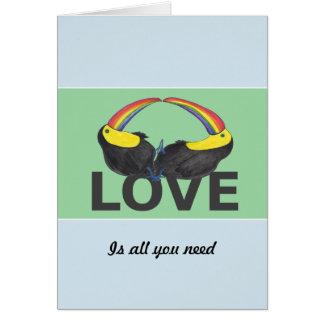 Tarjeta El amor es todo lo que usted necesita - toucans
