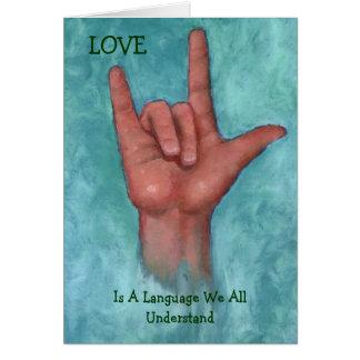Tarjeta El amor es una lengua nosotros que todo entiende