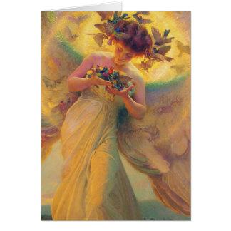Tarjeta El ángel de los pájaros Francisco Dvorak 1910