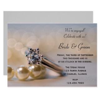 Tarjeta El anillo de diamante y el fiesta de compromiso de