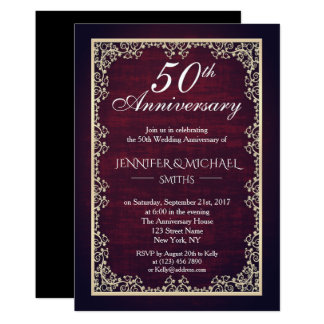 Tarjeta El aniversario de boda de Borgoña del vintage