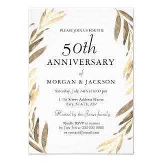 Tarjeta El aniversario de boda de la guirnalda 50.a de la
