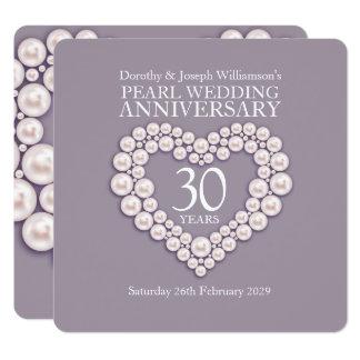 Tarjeta El aniversario de boda de la perla 30 años de