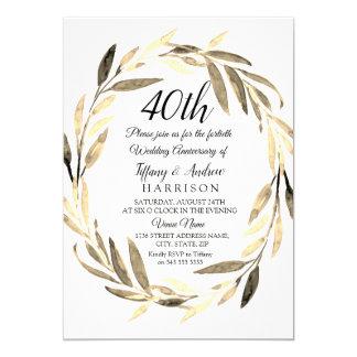 Tarjeta El aniversario de boda de oro de la guirnalda 40.a