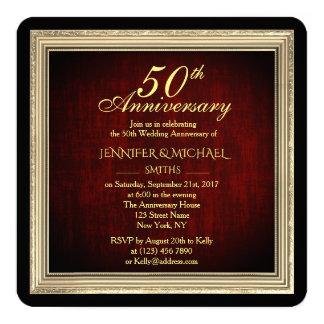 Tarjeta El aniversario de boda de oro elegante del marco