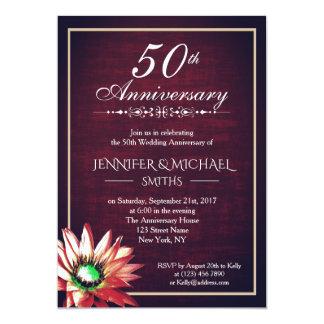 Tarjeta El aniversario de boda elegante de Borgoña 50.a