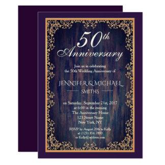 Tarjeta El aniversario de boda elegante del vintage invita