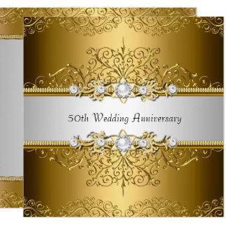 Tarjeta El aniversario de boda floral del remolino 50.o