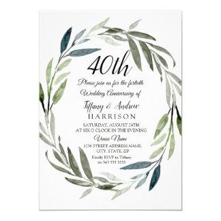 Tarjeta El aniversario de boda verde de la guirnalda 40.a