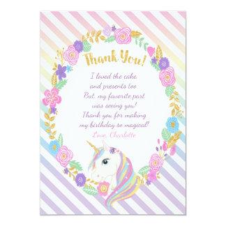 Tarjeta El arco iris del unicornio le agradece las