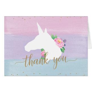Tarjeta El arco iris en colores pastel del unicornio le