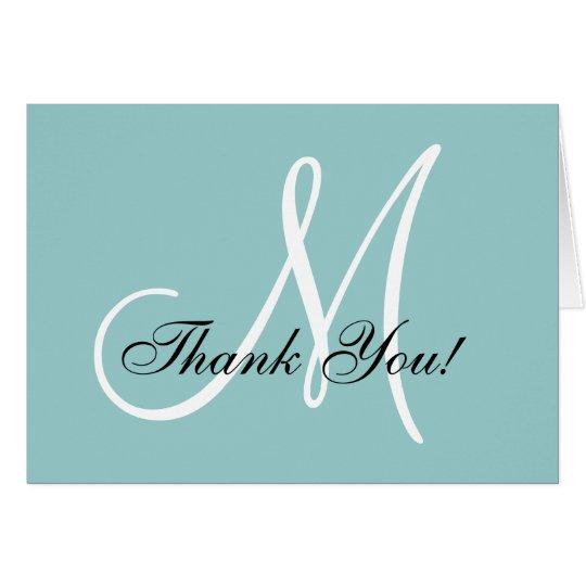 Tarjeta El azul elegante del monograma le agradece cardar
