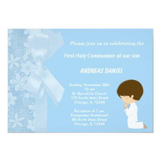 Tarjeta El azul florece la comunión santa
