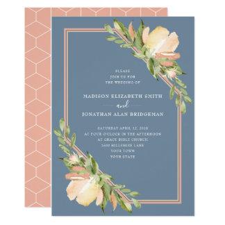 Tarjeta El azul polvoriento se ruboriza boda floral de la