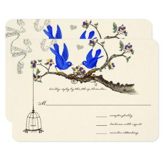 Tarjeta El azul real amarillo y la púrpura florece bodas
