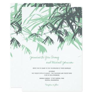 Tarjeta El bambú verde sale del boda asiático moderno