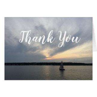 Tarjeta El barco de vela náutico le agradece las notas
