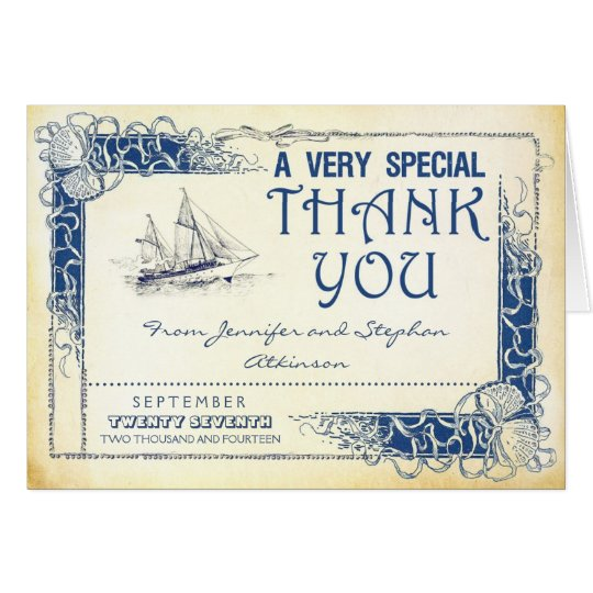 Tarjeta el barco náutico del vintage le agradece las