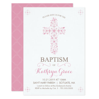 Tarjeta El bautismo, bautizo Invitatio, niñas invita