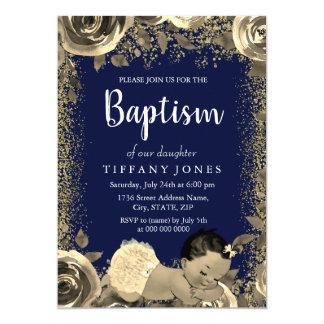 Tarjeta El bautismo del chica del purpurina de la chispa