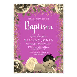 Tarjeta El bautismo del rosa y del chica del purpurina de