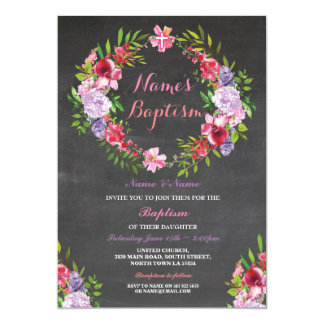 Tarjeta El bautismo floral del rosa de la guirnalda