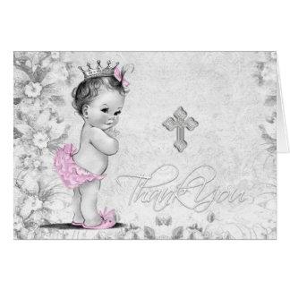 Tarjeta El bautismo gris rosado del chica del vintage le