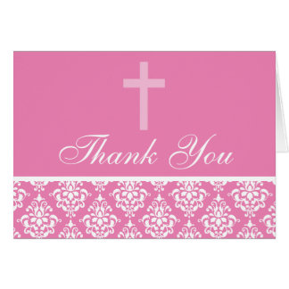 Tarjeta El bautismo rosado del chica de la cruz del