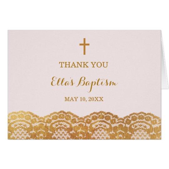 Tarjeta El bautismo rosado del cordón del oro le agradece