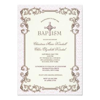 Tarjeta El bautismo rosado del Viejo Mundo hermana la