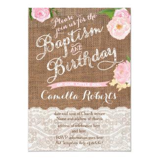 Tarjeta el bautismo y el cumpleaños combinados invitan