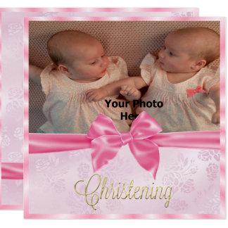Tarjeta El bautizo del chica del gemelo de la foto del