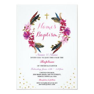 Tarjeta El bautizo floral del bautismo del rosa de la