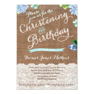 Tarjeta El bautizo y el cumpleaños rústicos invita para el