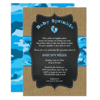 Tarjeta El bebé azul de Camo asperja invita, camufla a la