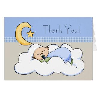 Tarjeta El bebé beige azul de la nube del bebé le agradece